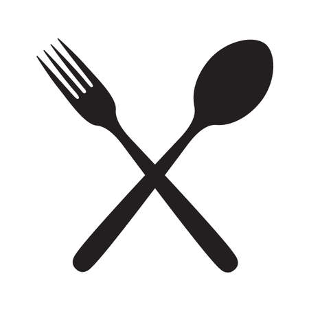 monochrome illustrations set of fork and spoon Vettoriali