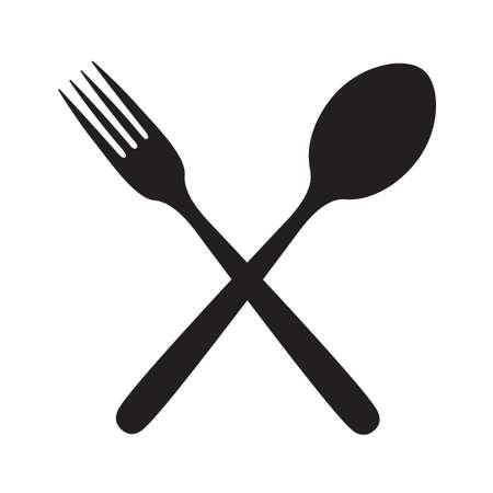 monochrome illustrations set of fork and spoon Ilustracja