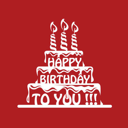 design of birthday cake on a red background Illustration