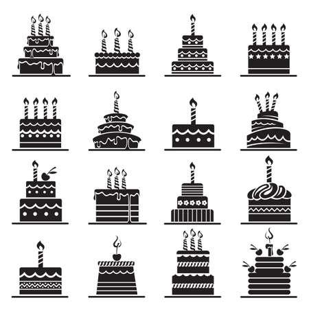 monochrome design of birthday cake set Vettoriali