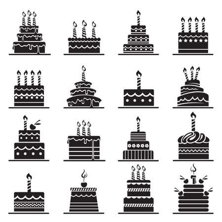 monochrome design of birthday cake set 矢量图像