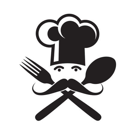monochrome illustrations of spoon, fork and chef Иллюстрация