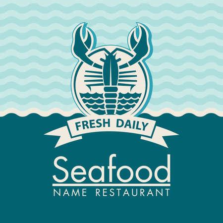 mariscos: dise�o del men� de mariscos en un fondo azul
