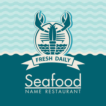 seafood background: seafood menu design on a blue background Illustration