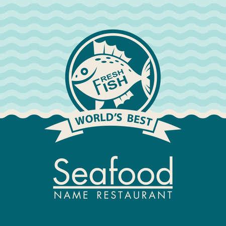 blue design: seafood menu design on a blue background Illustration