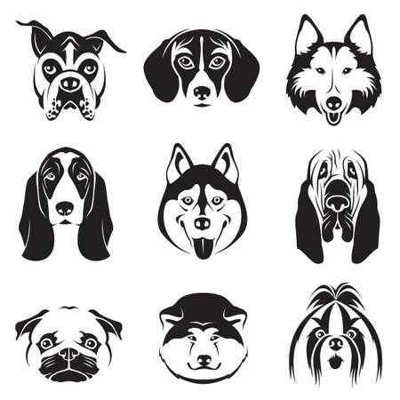 perro boxer: conjunto monocromático de perros cabezas Vectores