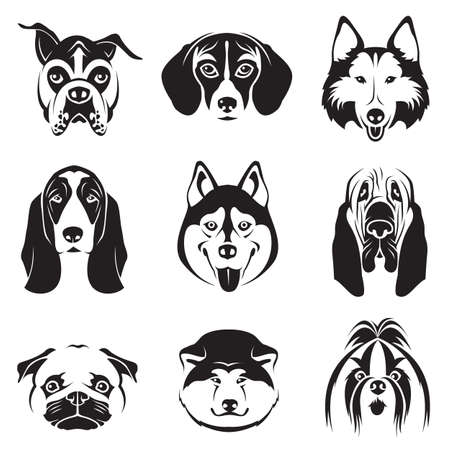 monochrome set of dogs heads Vettoriali