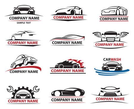 autolavaggio: set di dodici icone dell'automobile