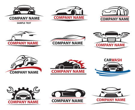 set van twaalf auto pictogrammen