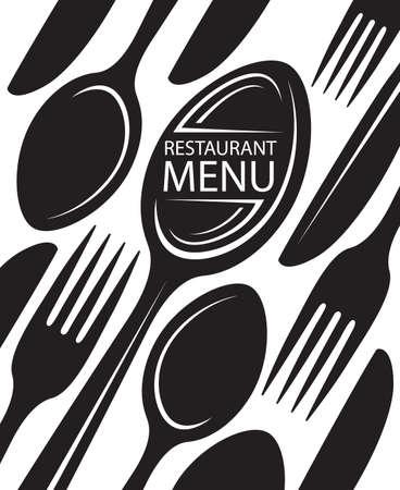 レストラン メニュー デザイン ナイフ、フォーク、スプーン