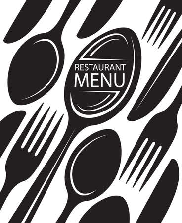 restaurant menu design with knife, fork and spoon