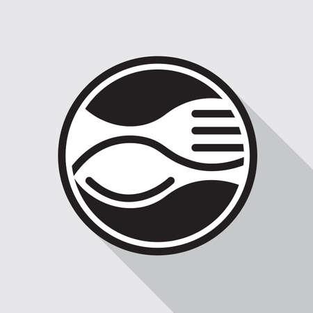 icono monocromo con tenedor y cuchara