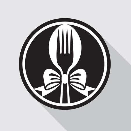 スプーン、フォーク、弓とレストラン メニュー デザイン