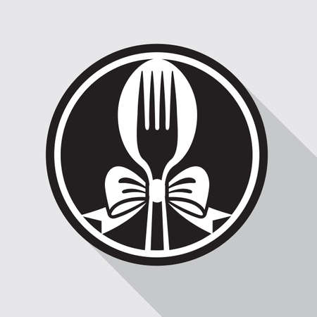 restaurant menu design with spoon, fork and bow