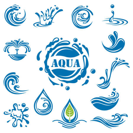 olas de mar: conjunto de catorce iconos de agua Vectores