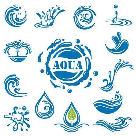 fresh water splash: Satz von vierzehn Wasser Symbole