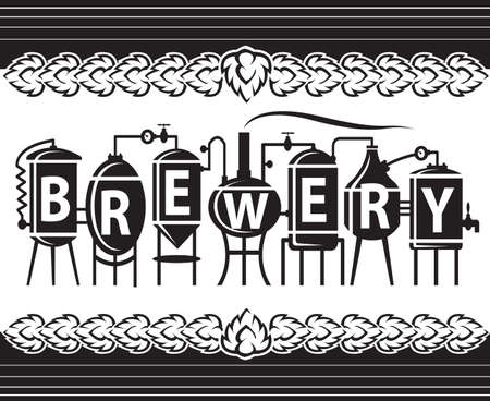 brewery  hops: monochrome design of brewery elements