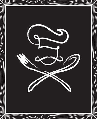 eating utensils: black illustration of billboard with spoon, fork and chef