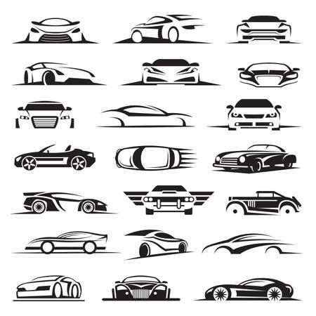 car: conjunto de veintiún iconos del coche