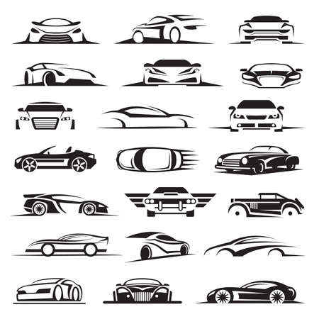set van eenentwintig auto iconen Stock Illustratie