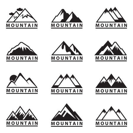 monochrome set of twelve mountain icons