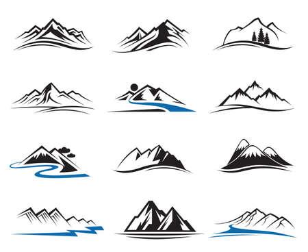 logotipo turismo: conjunto de doce iconos de montaña