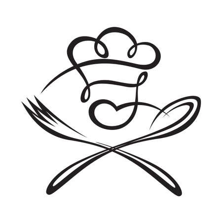 restaurante: Ilustração preto de colher, garfo e chef Ilustração