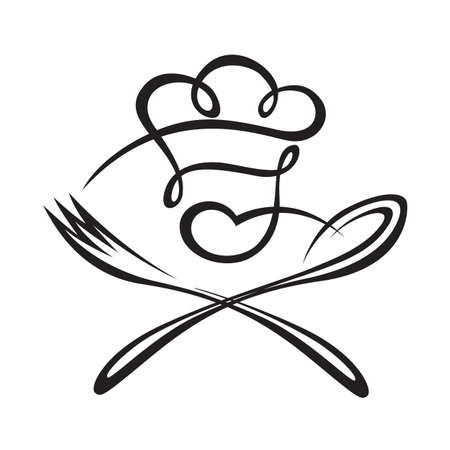zwarte illustratie van de lepel, vork en chef-kok