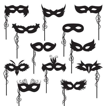 mascaras de carnaval: conjunto de máscaras de carnaval aisladas