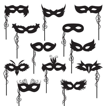 set of isolated carnival masks