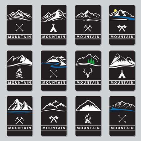 set of twelve mountain cards Vector