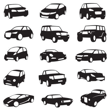 doprava: sada patnácti černá auta siluety