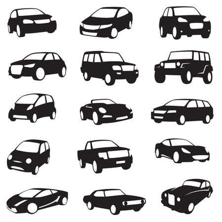 transport: uppsättning av femton svarta bilar silhuetter Illustration