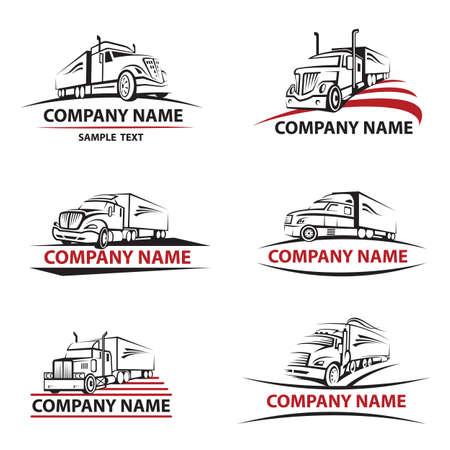 transport: Set von sechs Symbolen mit Lkw und Anhänger