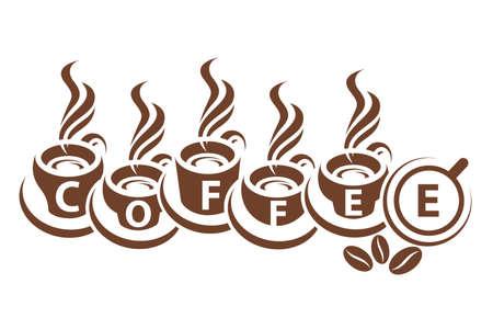 design of monochrome coffee cups Vector