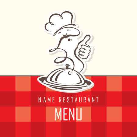 chef menu design on a red background Illustration