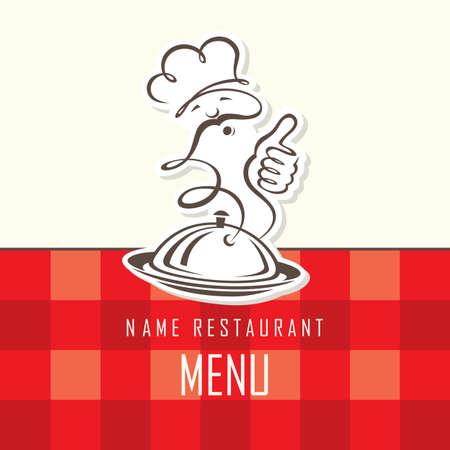 cocinero: Dise�o del men� del chef en un fondo rojo Vectores