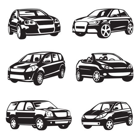 transportation silhouette: set of six black cars Illustration