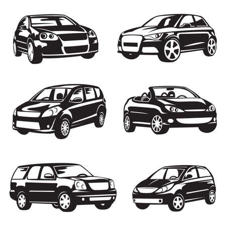 set van zes zwarte auto's