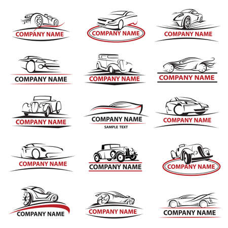 set of fifteen car icons Ilustracja