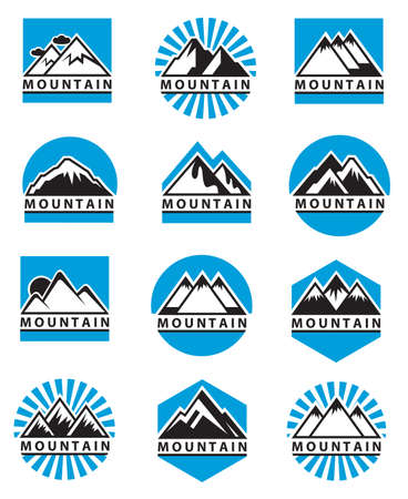 set of twelve mountain icons Vector