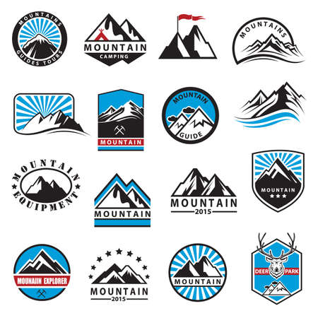 symbol vector: set of sixteen mountain icons