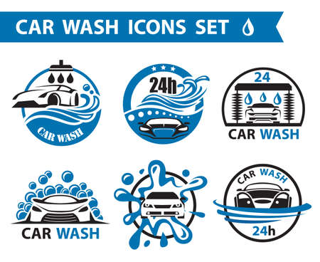 transportation silhouette: set of six car wash icons Illustration