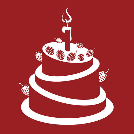 design of strawberry cake on a red background Vector