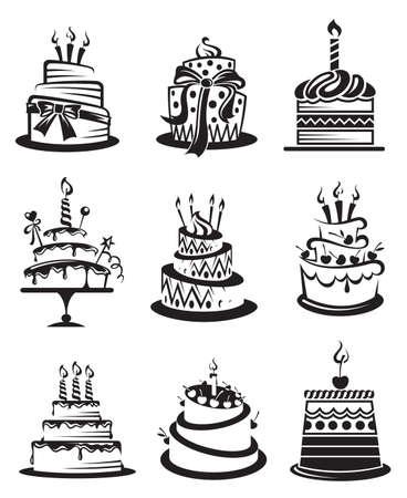 gateau anniversaire: ensemble de neuf gâteaux monochromes Illustration