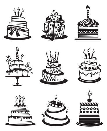 birthday food: set of nine monochrome cakes