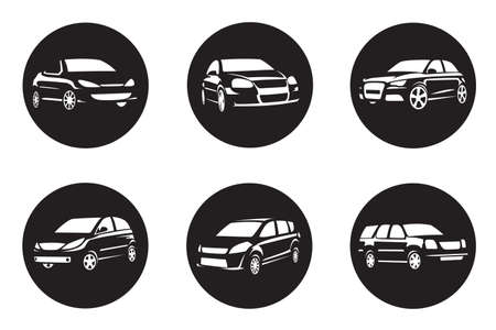 car icons: set of six black car icons