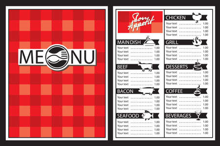 grill pattern: menu design with fork and spoon