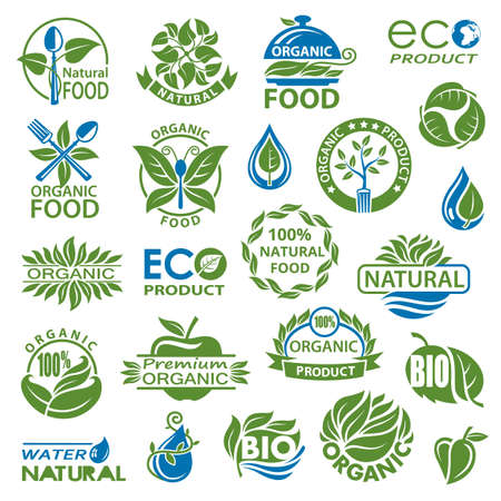 bio icon: collection of natural organic product icons