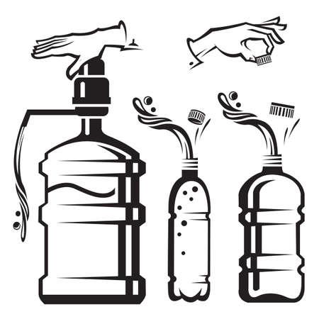 pressure bottle: conjunto de botellas y el refrigerador con agua Vectores